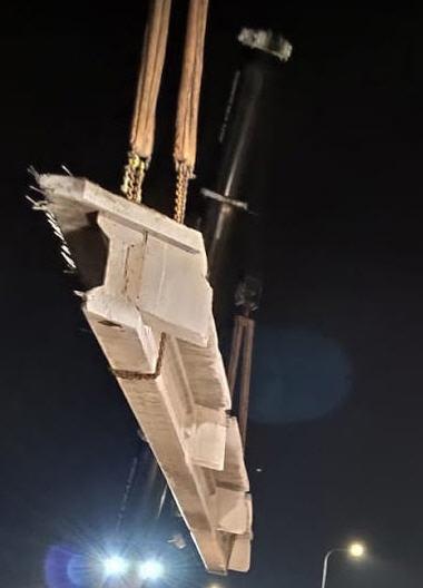 ניסור גשר בביצוע של חברת אחים צדיק - עבודת לילה