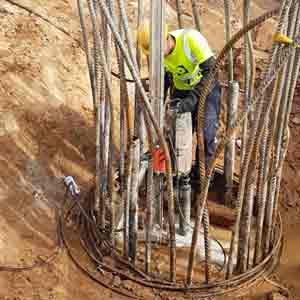 קידוח כלונס במרז יציקת הבטון